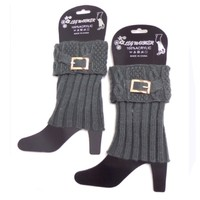 Cute Buckle Accent Charcoal Grey Boot Toppers, Cuffs