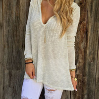 DEEP V-NECK HOODED SWEATER