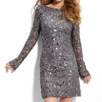 Aidan Mattox Sequined Mesh Sheath Dress | Nordstrom