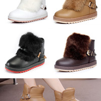 Womens Trendy Removable Fur Winter Ankle Boots