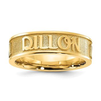 14K Yellow Gold Polished and Textured Personalized Name Ring