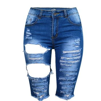 Women's Sexy fringe tassel Ripped Hole Washed Distressed Midi Short Jeans Hight Waist Slim Stretchy Denim Shorts
