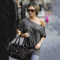 One Shoulder Scoop Pure Color Casual Short Sleeves Long Blouse