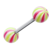 Candy Swirl Acrylic Top Barbell Tongue Ring