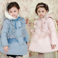 FedEx Free Girls Children Lace Thick Cotton Hoodie Fur Coats/Outwears Kids Winter Warm Tench Coat Girls Long Hooded Thick Coat Baby Clothing