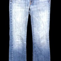 7 For All Mankind Jeans Button Fly Boot Cut Light Wash Women's 26 Actual 28x33 - Preowned