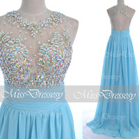 Blue Prom Dresses, 2014 Prom Gown, Straps with Open Back Lace and Chiffon Long Sky Blue Prom Dresses,Fomal Dresses