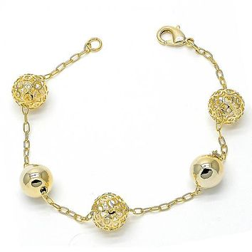 Gold Layered Charm Bracelet, Filigree Design, with Crystal, Golden Tone