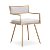 Marquee White Croc / Rose Gold Dining Arm Chair (set of 2)