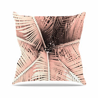 """Suzanne Carter """"Palm-Peach"""" Pink Black Outdoor Throw Pillow"""