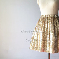 Light Gold Sequin Tulle/Bridesmaid Skirt/Short Sequin Skirt/Wedding Dress Underskirt/Prom skirt/Engagement Skirt