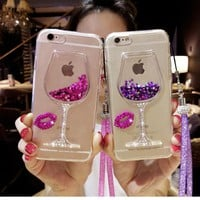 sFor iPhone 7 Case iPhone 6 8 3D Liquid Quicksand Bling Rhinestone Wine Glass Pattern Phone Case for iPhone 6s 6 7 8 Plus XStrap