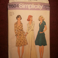 Uncut 1970's Simplicity Sewing Pattern, 6504! Size 16 Bust 38 Large/Women's/Misses/Collared Dress/Flared Dress/Front Wrap Dress/Short & Lon