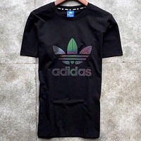Adidas 2019 new reflective color casual wild round neck half-sleeved shirt Black