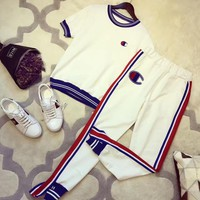 """Champion"" Women Casual Multicolor Stripe Short Sleeve Trousers Set Two-Piece Sportswear"