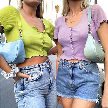 2020 summer new women's single-breasted fashion street style sexy t-shirt with wooden ears