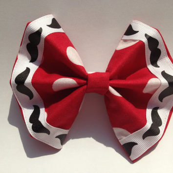 Mustache Girl's Fabric Hair Bow: Red with White Polka Dots