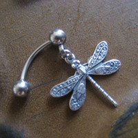 Tiny Dragonfly Rook Eyebrow Ring Piercing Jewelry Earring Dragonfly Bar Barbell Top Down Belly Button Navel Reverse Bottom 16g 16 G Gauge