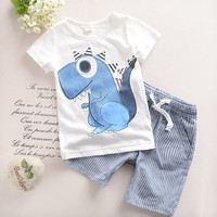 2T-6T 2016 New Toddler Boys Clothing Children Summer Boys Clothes Cartoon Kids Boy Clothing Set T-shit+Pants 100% Cotton