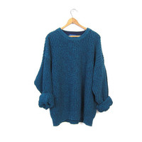 Oversized Slouchy Sweater 90s Chunky Marled BLUE GREEN Loose Knit Boyfriend Cozy Preppy Basic Pullover Simple Vintage Mens XL Extra Large