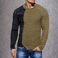 Men Sweater Fashion Round Neck Color Matching Long Sleeve Wild Pullover Slim Patchwork Sweater Mens