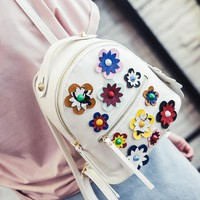 2017 Fashion Spring Women Backpacks Small Pu Leather Women Printing Flower Backpack Famous Brand Design Mini Travel School Bags