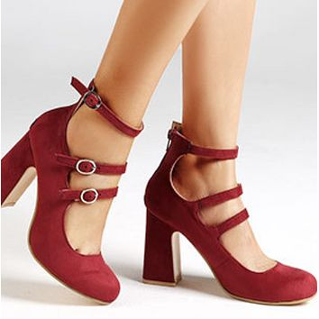 New high heel shoes with round head and single buckle shoes