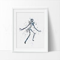 Jack Skellington Watercolor Art Print