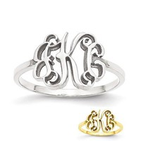 Personalized Sterling Silver, 10k or 14k Gold Solid Laser Polished Monogram Ring