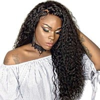 human hair lace front wigs for black women | Natural Black