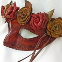 Floral Woodland Leather Masquerade Mask on Handmade Artists' Shop