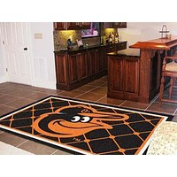 5x8 Rug MLB Baltimore Orioles Cartoon Bird 5'x8' Plush Rug