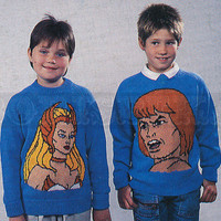 vintage Children's and Adult's *HE MAN & She Ra* jumpers knitting pattern (5 Designs) (80s) (PDF)