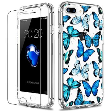 LUHOURI iPhone 8 Plus Case,iPhone 7 Plus Case with Screen Protector,Clear with Floral Flower Designs for Girls Women,Slim Fit Protective Phone Case for iPhone 7 Plus/iPhone 8 Plus Blue Butterflies Floral Flower Blue Butterflies
