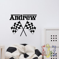 Checkered Flag Decal Personalized Name Vinyl Wall Decals Custom Boys Room Sports Decor Crossed Racing Flags Wall Stickers For Kids M079
