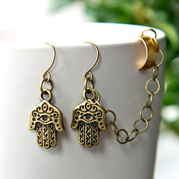 Hamsa Ear Cuff Earrings  Bronze Earcuff with chain  by AtelierYumi