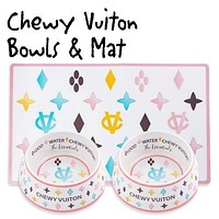 Chewy Vuiton Bowls and Placemat Set - OUT OF STOCK