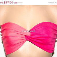 END of Summer SALE Coral and Fuchsia Yoga Sport Strapless Twisted Bandeau, Swimwear Bikini Top, Twisted Top Bathing Suits, Spandex Bandeau B