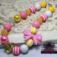 Girls Boutique Jewelry Pink and Yellow Chunky Beaded Bow Necklace Girls Chunky Beaded Necklace