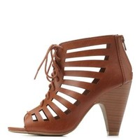 Tan Laser-Cut Lace-Up Peep Toe Booties by Charlotte Russe