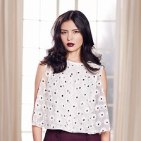 LC Lauren Conrad Runway Collection Embroidered Cold-Shoulder Top - Women's
