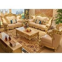 Ancient Style Ravishing Brocaded Exclusive Leather Sofa Set