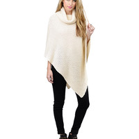 Cowl Neck Knitted Cape Sweater