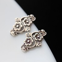 handmade silver flower petals Thai women Tremella nail hypoallergenic 925 Sterling Silver Earrings-in Stud Earrings from Jewelry & Accessories on Aliexpress.com | Alibaba Group