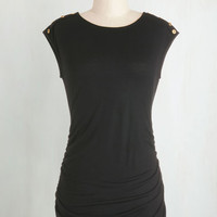 Mid-length Cap Sleeves Fluent in Fashion Top in Black