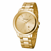 Fashion Geneva Watches Women Dress Watch Rose Golden Men Casual Unisex Auto Date Quartz Wristwatches