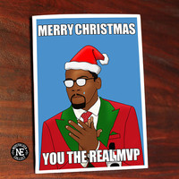 You The Real Christmas MVP Greetings Card - Happy Holidays - Kevin Durant Card 5 X 7 Inches