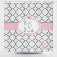 Custom Designed Quatrefoil - Gray and Pink Shower Curtain, Boys and Girls Bathroom, Personalized, Create and Design Your Own Shower Curtain
