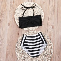 Toddler Kids Baby Girls Tankini Bikini Set Swimwear Swimsuit Bathing Beachwear 2017 Children Stripe Biquni Trikini swimming suit