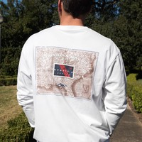 Expedition Series - Flag LONG SLEEVE Tee in White by Southern Marsh